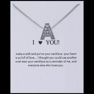 Jewelry - Silver Rhinestone Crystal Initial Necklace